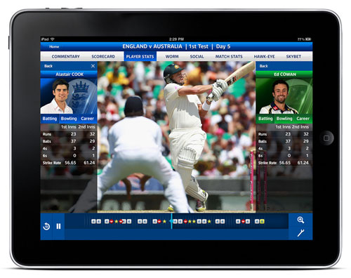 Sky Sports iPad app with Ashes