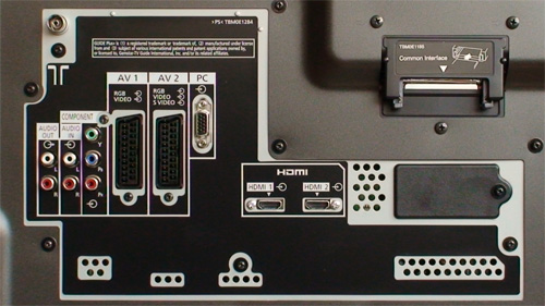 Rear connections on Panasonic TH42PZ80