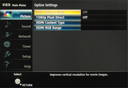 [Option Settings] submenu