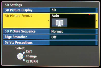 3D Settings on Panasonic TX-P50VT20
