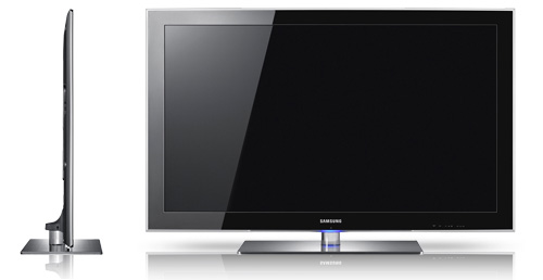 Samsung UE40B8000 side and front view profiles