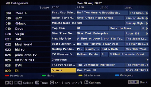 Sony tv epg not updating