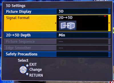3D Menu on Panasonic TX-P42GT20
