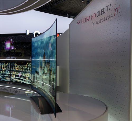 Side view of LG's 77in OLED