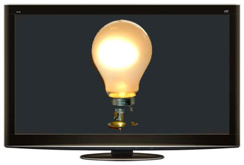 HDTV displaying a light bulb